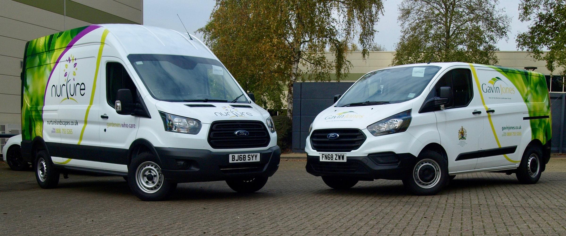 Fleet branding with vinyl graphics on Nurture Landscapes new vans