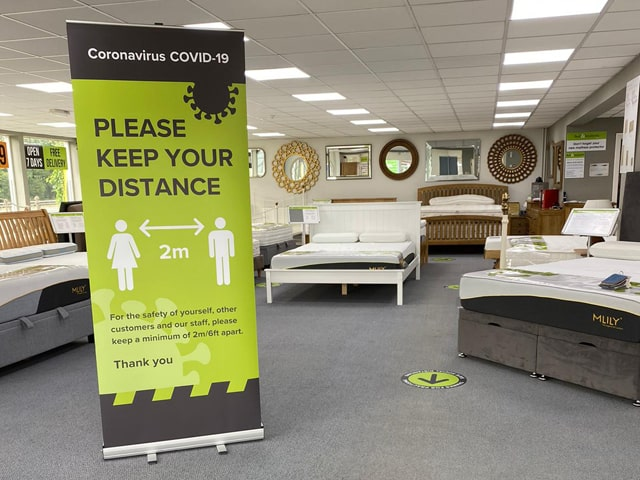 Social Distancing Retail Signage and Floor Graphics in Bed Store