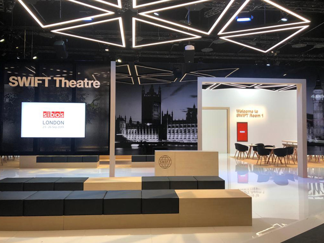 Exhbition Graphics at Swift Stand at Sibos 2019 in London