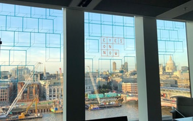 Window decals loverlooking the Thames in London